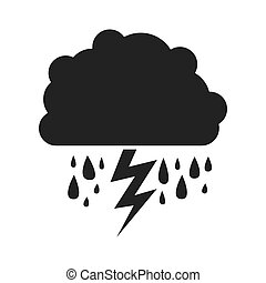 gray silhouette of cloud with rain and lightning