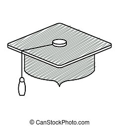 gray silhouette of graduation cap with striped