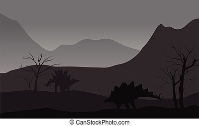Gray silhouette of stegosaurus