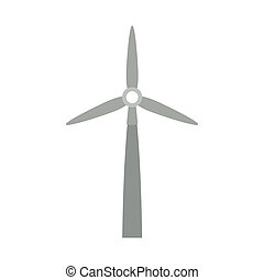 gray silhouette wind power generator vector illustration