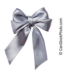 gray, silver bow, ribbon isolated on white