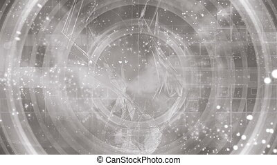 Gray silver cosmic geometric low poly animated particle abstract CG background loop