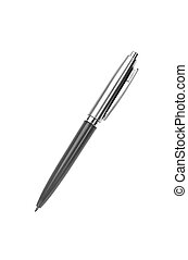 gray silver pen isolated on white