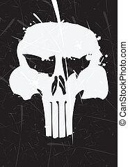 gray skull icon on black background