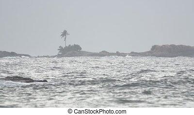 Gray Sky Threatens Rain at Tropical Beach in Hikkaduwa