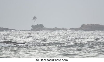 Gray Sky Threatens Rain at Tropical Beach in Hikkaduwa -...