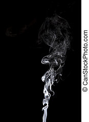 gray smoke on a black background.