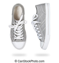 gray sneakers isolated on white