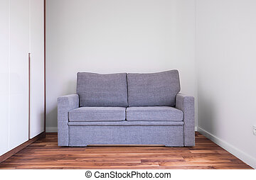 Gray sofa in empty room - Small gray sofa in empty living...