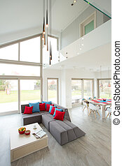 Gray sofa in modern lounge
