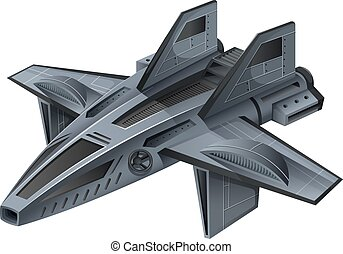 Gray spacship with wings
