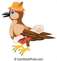 Gray sparrow in hat