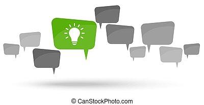 gray speech bubbles with green light bulb