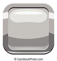 Gray square button icon, cartoon style