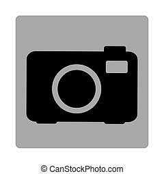 gray square frame with silhouette camera