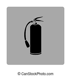 gray square frame with silhouette fire extinguisher icon