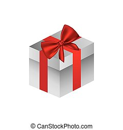 gray square gift box with red ribbon