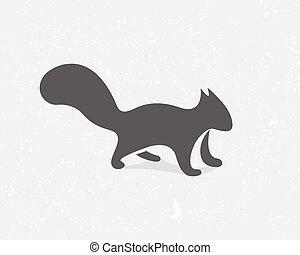 Gray squirrel logo or icon - Vector logo design element with...