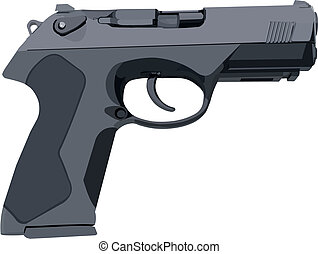 Gray Standard Gun - Standard gray hand gun illustration in...