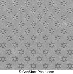 Gray Star of David Patterned Textured Fabric Background that...