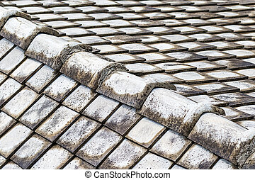 gray stone roof tile background ribbed foundation top of the roof weathered patchy pattern urban background traditions asia