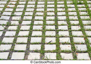 Gray stone sidewalk pavement with sprouting green grass through the paving. Urban background, texture.