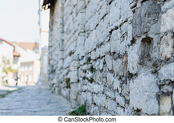 stone wall outside street