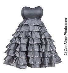 gray strapless dress with a fluffy skirt on an isolated...
