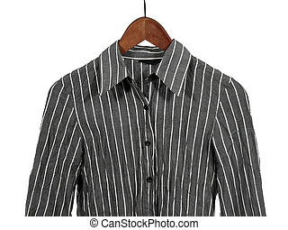 Gray striped shirt on wooden hanger, isolated