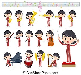 A set of women in sportswear on classical music performances. There are actions to play various instruments such as string instruments and wind instruments. It's vector art so it's easy to edit.