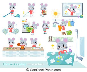 A set of mouse girl related to housekeeping such as cleaning and laundry. There are various actions such as cooking and child rearing. It's vector art so it's easy to edit.