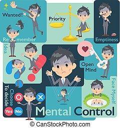 Gray Suit Businessman Bad condition_Mental & volition