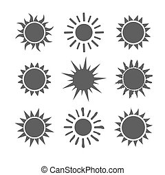 Gray sun set icons isolated on white background.