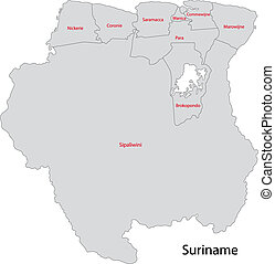 Gray Suriname map - Administrative divisions of Suriname