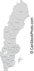 Gray Sweden map - Administrative division of the Kingdom of...