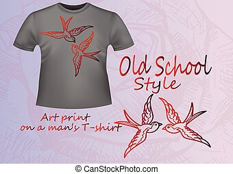 Gray T-shirt with an illustration - red old school swallow