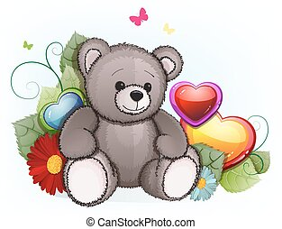 Gray teddy bear with Valentines Day hearts - Teddy bear with...