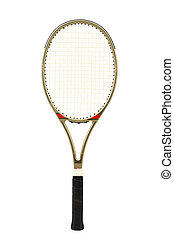 Gray tennis racket isolated on a white background