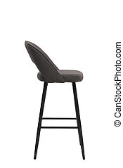 gray textile bar stool isolated on white background. modern gray bar chair side view. soft comfortable upholstered tall chair. interrior furniture element.