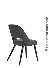 gray textile chair isolated on white background. modern gray stool back view. soft comfortable upholstered chair. interrior furniture element.