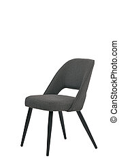 gray textile chair isolated on white background. modern gray stool front view. soft comfortable upholstered chair. interrior furniture element.