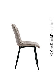 gray textile chair isolated on white background. modern gray stool side view. soft comfortable upholstered chair. interrior furniture element.
