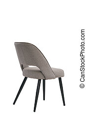 gray textile chair isolated on white background. modern gray textile stool back view. soft comfortable upholstered chair. interrior furniture element.