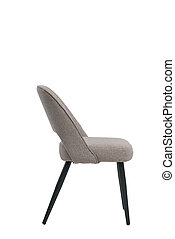 gray textile chair isolated on white background. modern gray textile stool side view. soft comfortable upholstered chair. interrior furniture element.