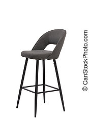 gray textilebar stool isolated on white background. modern gray bar chair front view. soft comfortable upholstered tall chair. interrior furniture element.