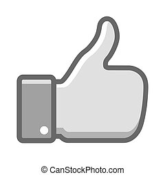 Gray thumb up icon