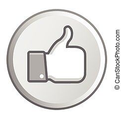 Gray Thumb up round button