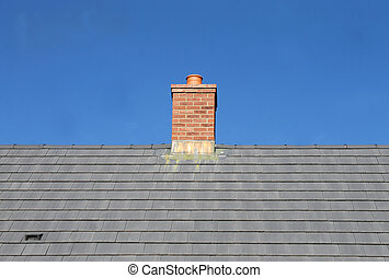 Gray tile roof and chimney