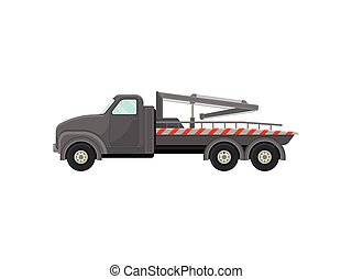 Gray tow truck with a stripe. Vector illustration on white background.