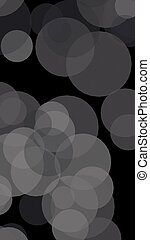Gray translucent circles on a dark background. 3D illustration
